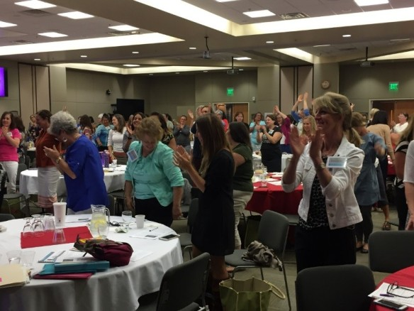 Idaho Breastfeeding Summit attendees participate in a group activity during the first summit.