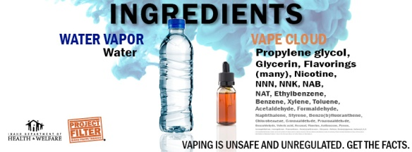 Description of what's in water vs. what's in a vape cloud.