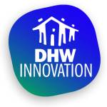 DHW Innovation logo with green and blue
