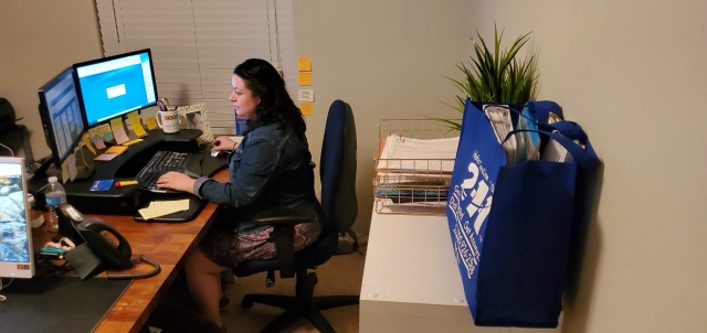 Erika Vasquez is a teleworking 2-1-1 CareLine Agent. CareLine calls are patched through to her home router through the Meraki system, so she can securely take 2-1-1 phone calls.
